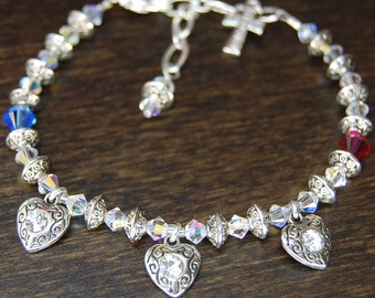 Remembrance Bracelet - Style 3 - Custom Made With Birthstones And Our Original Poem