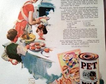 1928 Pet Milk Ad Mom Baking  Pie  in Kitchen with Children William Meade Prince Art Recipe Fruit Cream Tartlets