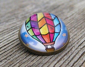 Hot Air Balloon Glass Brooch - Round bronze brooch with floating rainbow balloon