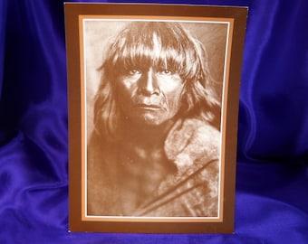 EDWARD CURTIS PHOTOGRAPH, vintage postcard, Vintage Photograph, Native AMerican Photograph, Vintage native MAerican Photograph
