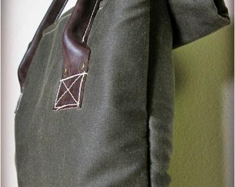 Waxed Cotton Roll Down Handbag with Buffalo Leather