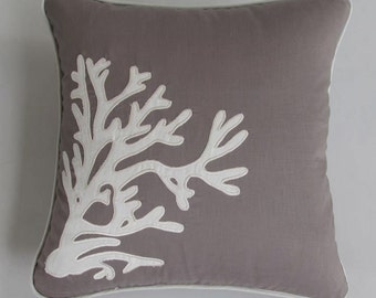 taupe coral pillow cover 18 inch custom made in taupe navy and white
