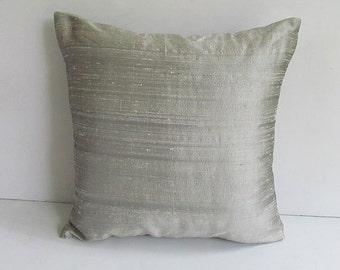 dupioni silk silver gray pillow 18 inch throw pillow cover. 120gsm fabric.  Row silk.  Cushion cover  2 in  stock  ready  to  ship.