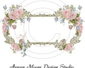 lb-29 Shabby Vintage Chic Kitchen Label Pink Rose Frame White Dove Waterslide Water Slide Miniatures Decals
