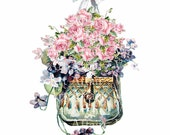 Beautiful Vintage Victorian Shabby Style Chic Pink Roses Laveder Floral Basket Water Slide Waterslide Decals Miniature vf-89
