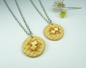Waffle Friendship Necklace (2pcs) - Food jewelry food necklace, best friend gift, best friend jewelry, waffle necklace, Parks and Recreation