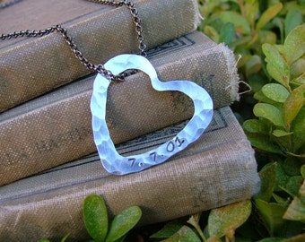 Ever After Custom Hand Stamped Hand Hammered Heart Washer Pendant Keepsake Necklace by MyBella