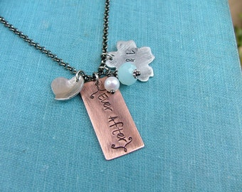 Ever After Custom Hand Stamped Copper with Aluminum Wedding Anniversary Keepsake Necklace with Pearl and Peruvian Blue Quartz  by MyBella