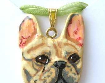 Dog Breed FRENCH BULDOG FAWN Handpainted Clay Necklace/Pendant Artist Painted