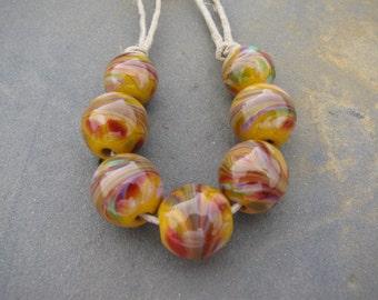 Handmade Lampwork Beads SRA Yellow Rounds with Frit by Tamara Ashlock
