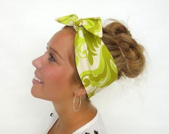 Rockabilly Tie On Headband, Vintage Inspired Head Wrap, Hair Accessories in Green Floral