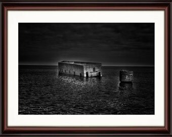 Black and White Ruins in the Water - Fine Art Print