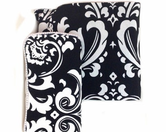 Black and white Damask Diaper Clutch and Travel wipes case Set of 2 Chic baby shower gift black and white baby gift black damask diaper bag