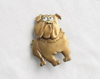 Brass Bulldog Brooch Vintage Dog Figural Pin Trembler Signed JJ Moving Head