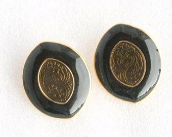 Black Green Gold Earrings Vintage Pierced Enamel Goldtone Ovals