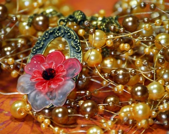 A Single Bloom Fiery Skies Red Vintage Swarovski Rhinestone Necklace