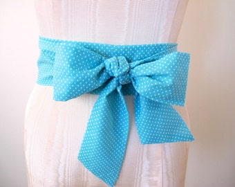 Bow Belt Aqua Blue Turquoise White Swiss Dot Vintage Fabric - made to order