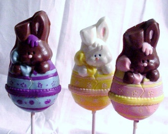 Easter Bunnies Hatching from an Easter Egg  Lollipops