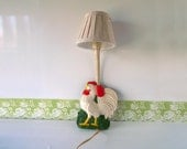 Vintage Mid Century Rooster Kitchen Lamp Lighting Farmhouse Wall Hanging