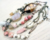 Between the Stars. Rustic victorian tribal cosmic bohemian pink druzy art statement assemblage necklace.