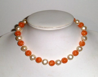 Vintage Beaded Necklace - Orange and White Lucite Bead Necklace - Plastic Beaded Necklace - Orange Necklace - Short Necklace