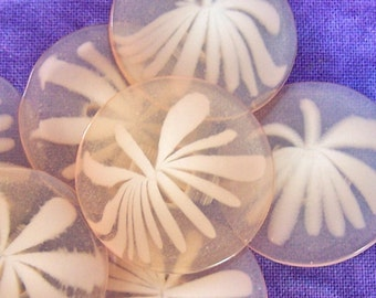 Peach Flower Buttons, 25mm 1 inch - Pastel Orange Flower Shank Buttons - 4 VTG NOS Glossy Orange Translucent Floral Buttons PL098 bb