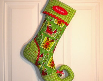 Christmas Stocking with Green Reindeer and Sleigh Print, Quilted Cuff and Curly Elf Toe