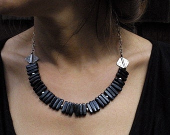 Primitive Black Horn and Thai SIlver Necklace