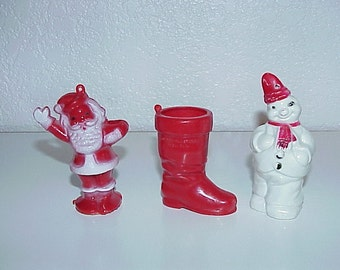 3--Vintage--Christmas--Candy Containers--Santa--Boot--Snowman--Plastic Candy Holders