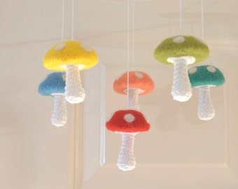 6 Mushrooms mobile, baby mobile, nursery Mobile, Alice in wonderland mobile baby crib nursery decor felted crochet red green yellow blue