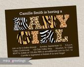 Animal Print Baby Shower Invitation - Zebra Leopard Giraffe or Tiger Pattern - baby girl shower invite (Printable Digital File)