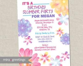 Flower Birthday Invitations - Slumber Party Invitation - Pastel Blooms - girl birthday party - teen party (Printable Digital File)
