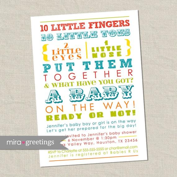Colorful Baby Shower Invitation - words, gender neutral (Printable Digital File)