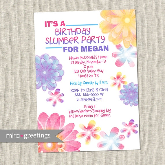 Flower Birthday Invitations Slumber Party Invitation