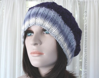 Knitted Slouch Hat, Womans Slouch Beanie, Eggplant and Lavendar Slouch Hat, Knit Slouch Hat for Women