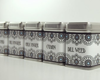 Blue Eyed Flower Spice Tins-Customized