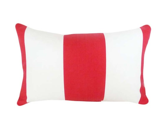 Red White Striped Patio Pillow, Lumbar 14x18, Outside Throw Pillow. Outdoor, Cushion Covers, Pool or Beach Pillows, Oblong