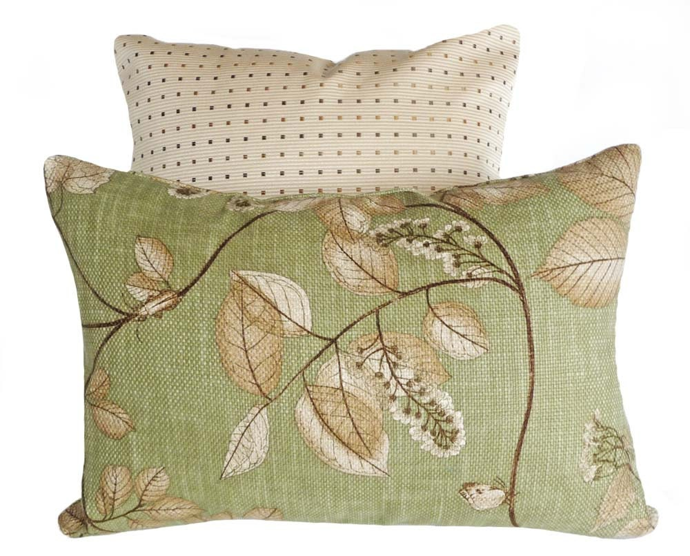 Green Throw Pillow 12x18 Leaves Pillow Cover by PillowThrowDecor