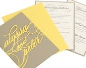 Monogram Wedding Invitations - yellow, charcoal gray, names, script, bride and groom, personalized, logo, romantic, bright, colorful, mod