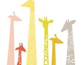 "16X20"" Giraffes in Warm Rainbow"