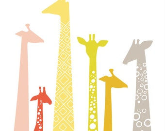 "8X10"" modern giraffe silhouettes giclee print on fine art paper. warm rainbow. pink, yellow, orange, green, gray"
