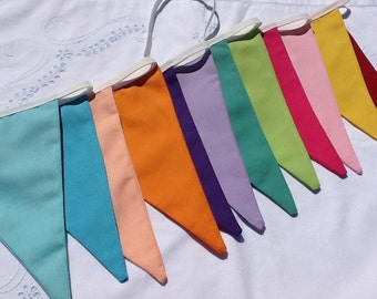 12 flag Rainbow Flag Bunting / Fabric Garland / Banner, summer parties, office and birthday parties, photo prop
