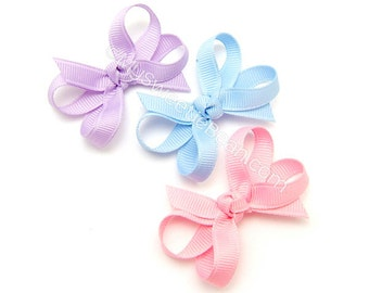 2 inch Baby Bows, Mini Boutique Bow Set of 3, Candy Colors Hair Accessories for Baby Girls, Infant Hairbows Tiny Baby Bow Pink Blue Lavender
