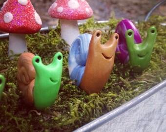 Polymer Clay Garden Snail Plant Stake