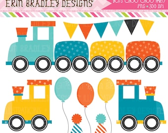 50% OFF SALE Boys Train Choo Choo Party Clipart Clip Art Personal & Commercial Use Instant Download
