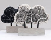 Fabric Tree Black and White Sculpture/Ornament
