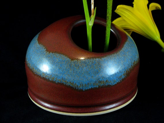 20% Off Clearance - Ikebana Vase with Stainless Steel Pin Frog - Red/Brown and Blue - In Stock and READY TO SHIP
