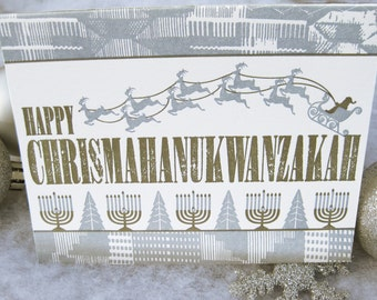 Letterpress Holiday Greeting Card Set - Chrismahanukwanzakah (set of 6)