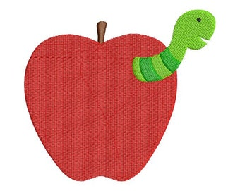 Worm in Apple School Fall Teacher Embroidery Designs - 4x4 and 5x7 - Instant Download Sale