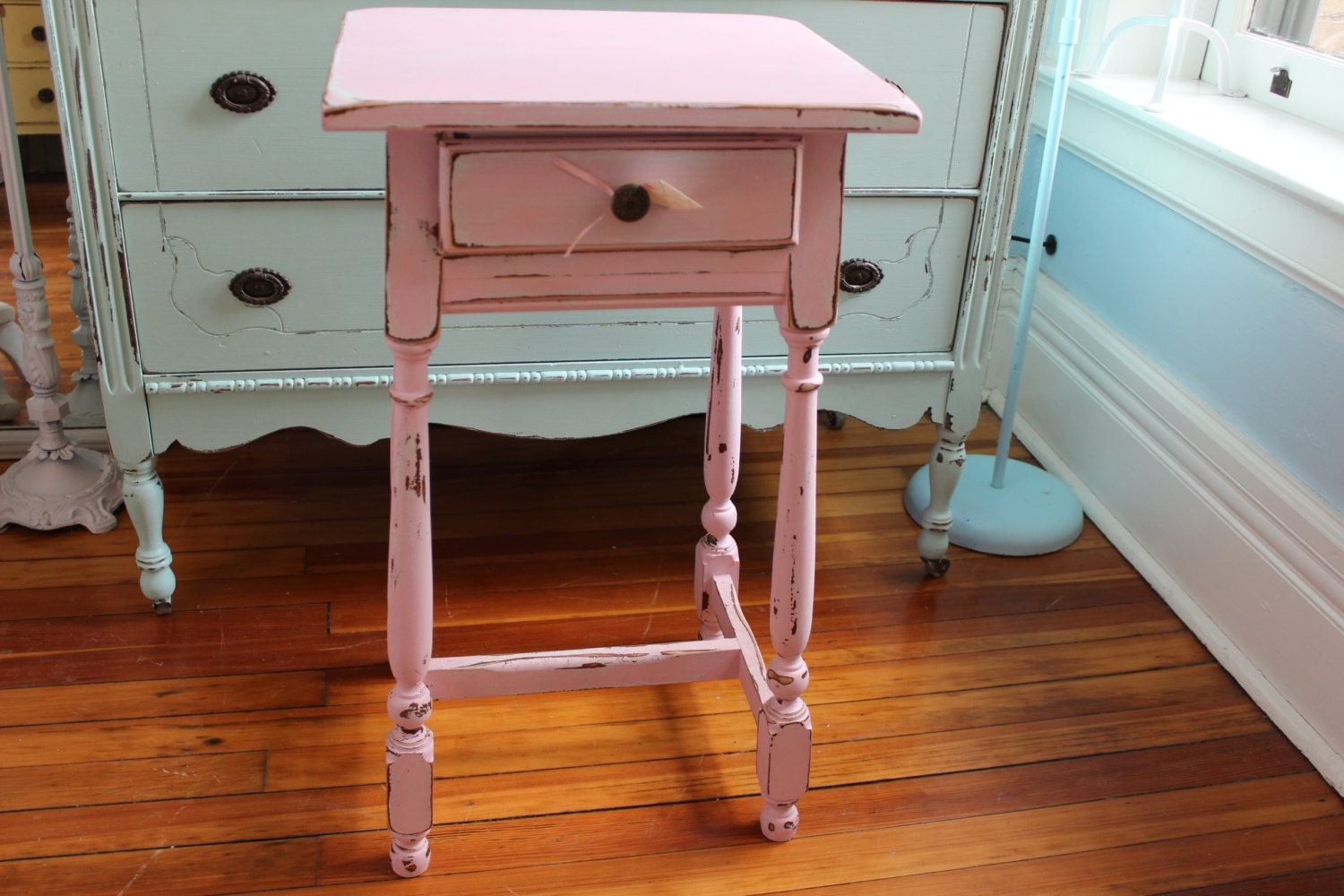 shabby chic vintage nightstand pink white aqua distressed. Black Bedroom Furniture Sets. Home Design Ideas